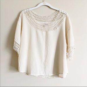 FOREVER 21 / cream crochet lace top / medium